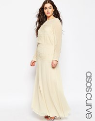 Asos Curve Maxi Dress With Delicate Lace Panel Cream