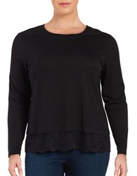 Lord And Taylor Plus Lace Hem Tee Black