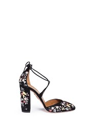 Aquazzura 'Karlie' Floral Embroidery Suede Pumps Black