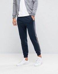 Abercrombie And Fitch Cuffed Joggers Retro Side Stripe In School Navy School Navy Blue