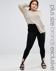 One Day Plus Legging With Stirrup Detail Black