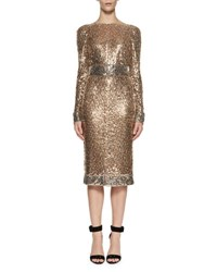 Tom Ford Embroidered Metal Sheath Dress Silver