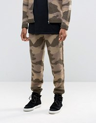 Asos Knitted Camo Joggers In Fluffy Yarn Green