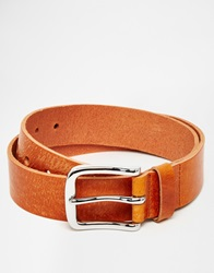 Asos Leather Belt In Brown With Vintage Finish