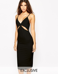 Naanaa Midi Bodycon Dress With Cut Out And Low Back Black