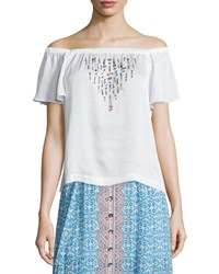 Nanette Lepore Off The Shoulder Flounce Top W Beading Women's Size Xs Ivory