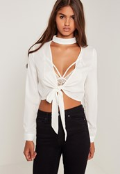 Missguided Choker Neck Tie Front Crop White White