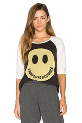 Lauren Moshi Maglan Boyfriend Raglan Black And White