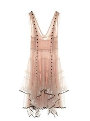 Alexander Mcqueen V Neck Sleeveless Ruffled Tulle Dress Light Pink