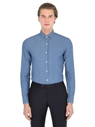 Salvatore Piccolo Slim Fit Cotton And Linen Denim Shirt