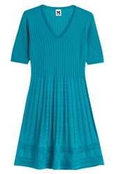 M Missoni Knit Dress With Virgin Wool Turquoise