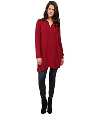 Splendid Rayon Voile Tunic Cranberry Women's Blouse Red
