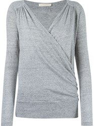 Giuliana Romanno Longsleeved Cache Coeur Blouse Grey