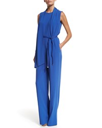Escada Sleeveless Wide Leg Belted Jumpsuit Heather Grey