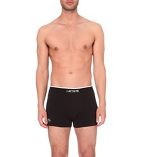 Lacoste Branded Pack Of Three Stretch Cotton Trunks Black
