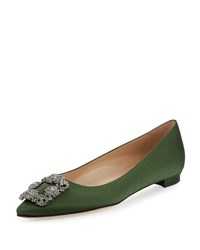 Manolo Blahnik Hangisi Crystal Buckle Satin Flat Army Green