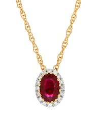 Lord And Taylor Ruby Diamond 14K Yellow Gold Pendant Necklace