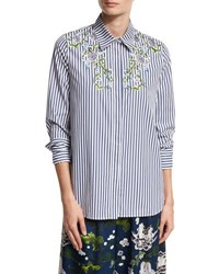 Adam By Adam Lippes Floral Embroidered Striped Cotton Shirt Multi