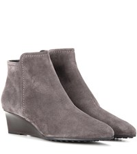 Tod's Suede Wedge Ankle Boots Grey