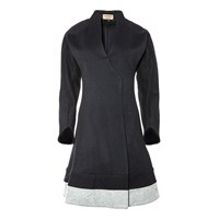 Sinclair London Panelled Seamed Overcoat Black
