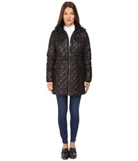 Kate Spade Fitted Quilted 32 W Hood Black Women's Coat