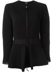 Giorgio Armani Flared Hem Ribbed Jacket Black