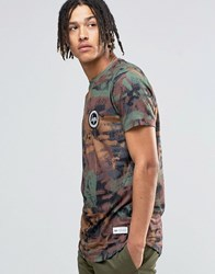Hype T Shirt In Brushed Camo With Crest Logo Khaki Green