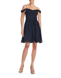 Vera Wang Draped Fit And Flare Dress Dark Navy
