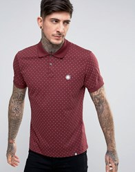 Pretty Green Polo Shirt With Polka Dot In Regular Fit Burgundy Red