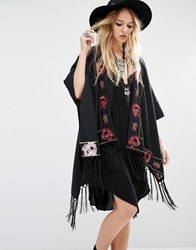Young Bohemians Oversized Kimono With Floral Embroidery And Tassel Trims Black