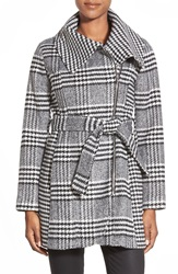Jessica Simpson Glen Plaid Belted Asymmetrical Coat Black White
