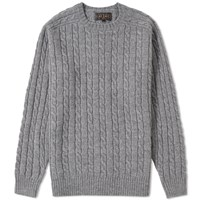 Beams Plus Cable Knit Crew Neck Grey