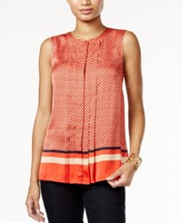 Tommy Hilfiger Printed Pleated Shell Only At Macy's Maui Orange Multi