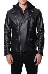 Men's 7 Diamonds 'Thunderbird' Leather Moto Jacket With Removable Knit Hooded Bib