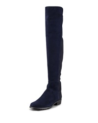 Stuart Weitzman 50 50 Narrow Suede Stretch Back Knee Boot Blue