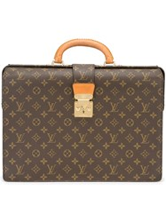 Louis Vuitton Vintage Logo Print Briefcase Brown