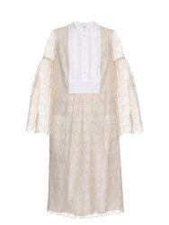 Giles Bell Sleeved Macrame Lace Dress White