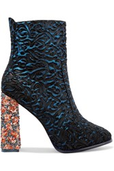 Sophia Webster Kendra Jacquard Effect Leather And Suede Ankle Boots Blue