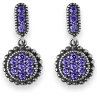 Platadepalo Purple Zircon Stone And Silver Drop Earrings Pink Purple