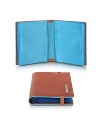 Piquadro Blue Square Pocket Credit Card Holder Orange
