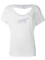 Unravel Distressed T Shirt White