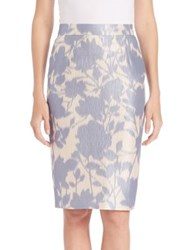 Escada Floral Print Pencil Skirt Celeste