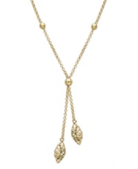 Macy's 14K Gold Necklace Diamond Cut Marquise Filigree Drop Lariat Pendant