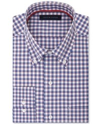Tommy Hilfiger Men's Classic Fit Non Iron Blue Check Dress Shirt Mineral