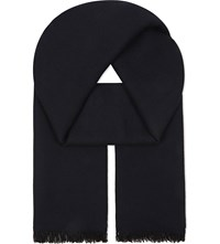 Sandro H16 Reversible Virgin Wool Scarf Blue