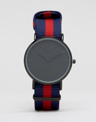 Reclaimed Vintage Stripe Canvas Watch With Black Dial Navy Red