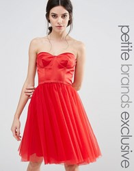Chi Chi Petite London Corset Dress With Tulle Skirt Red