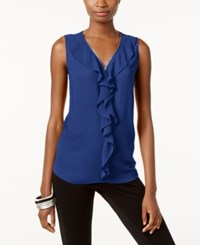 Inc International Concepts Ruffled Tank Top Only At Macy's Goddess Blue