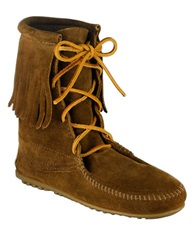 Minnetonka Tramper Moccasin Ankle Boots Dusty Brown Suede