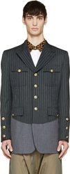 Comme Des Garcons Navy Colorblock Military Blazer